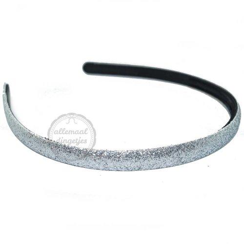 Diadeem haarband glitters zilver 10mm (per stuk)