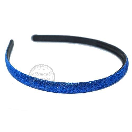 Diadeem haarband glitters kobalt blauw 10mm (per stuk)