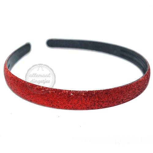 Diadeem haarband glitters rood 14mm (per stuk)