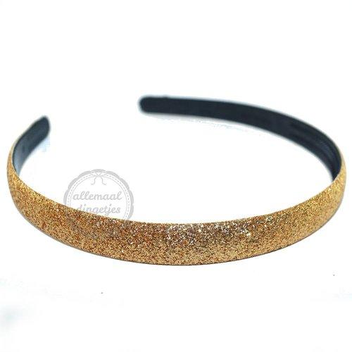 Diadeem haarband glitters goudkleurig 14mm (per stuk)