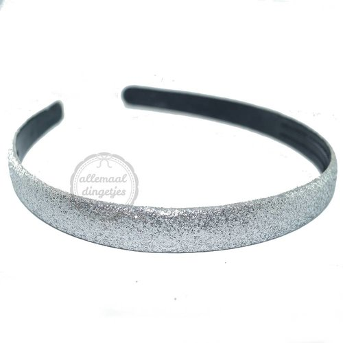 Diadeem haarband glitters zilver 14mm (per stuk)