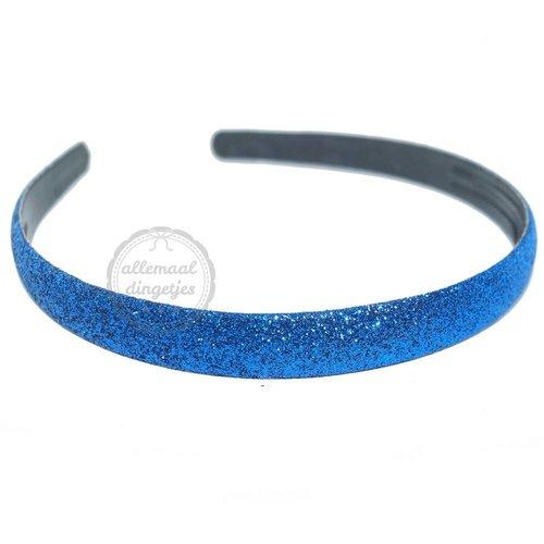Diadeem haarband glitters kobalt blauw 14mm (per stuk)