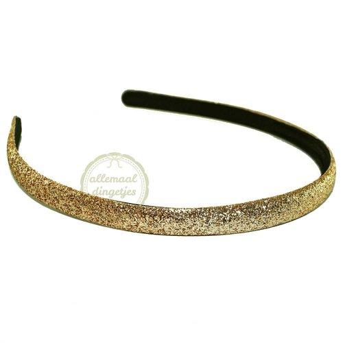 Diadeem haarband glitters goudkleurig 10mm (per stuk)