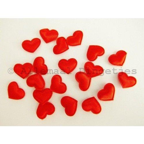 Hart applicatie klein satijn 13x17mm rood (20 st)