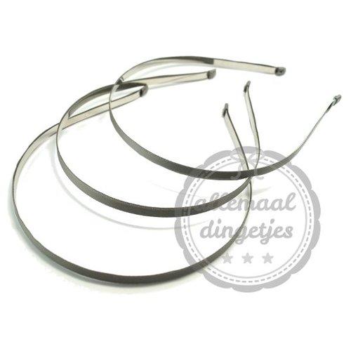 Diadeem haarband metaal satijn 6mm grijs (per stuk)