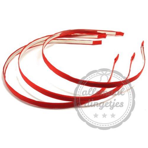 Diadeem haarband metaal satijn 6mm rood (per stuk)