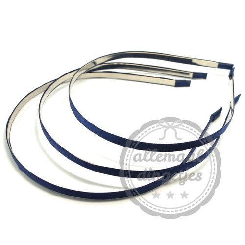 Diadeem haarband metaal satijn 6mm donkerblauw (per stuk)