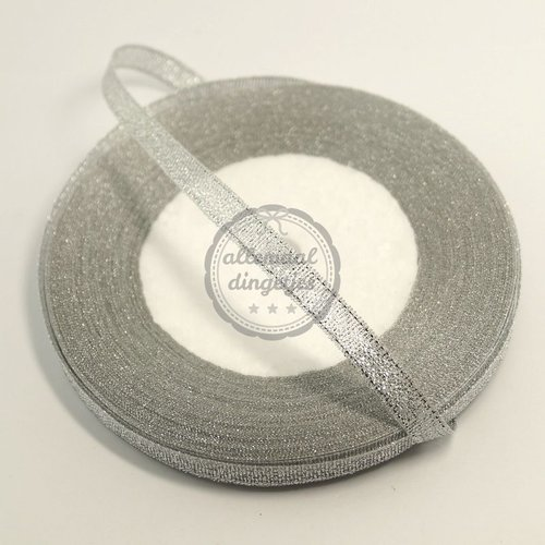 Lint glitter zilver 7mm (rol van 22 meter)