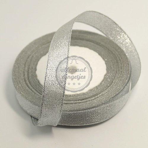Lint glitter zilver 15mm (rol van 22 meter)