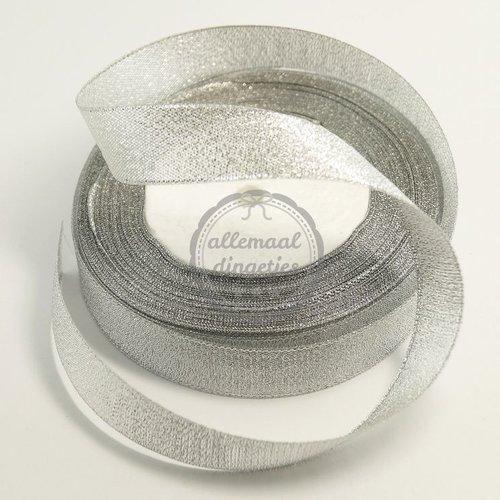 Lint glitter zilver 18mm (rol van 22 meter)