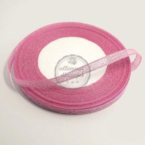 Lint glitter roze 7mm (rol van 22 meter)