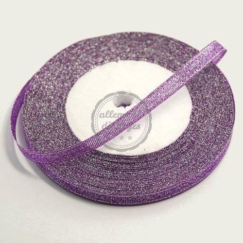 Lint glitter paars 7mm (rol van 22 meter)