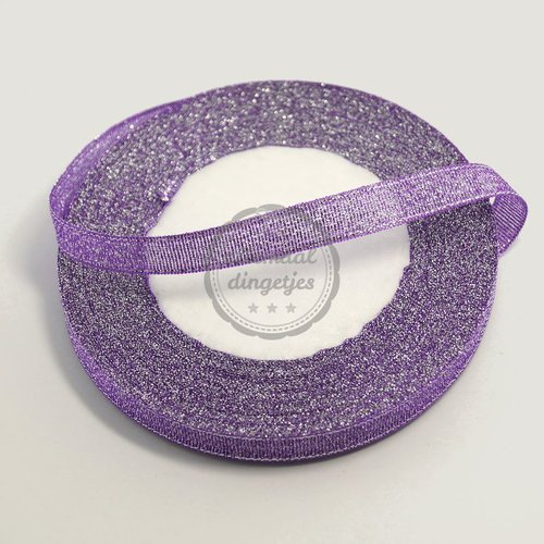 Lint glitter paars 10mm (rol van 22 meter)