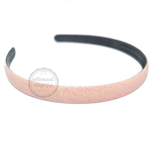 Diadeem haarband glitters roze 14mm (per stuk)