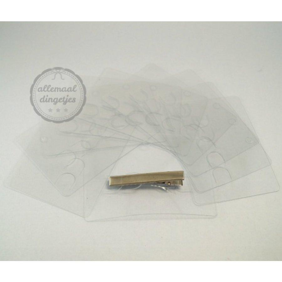 Display kaartjes transparant kunststof tbv haarklemmen 7x10cm (10 st)