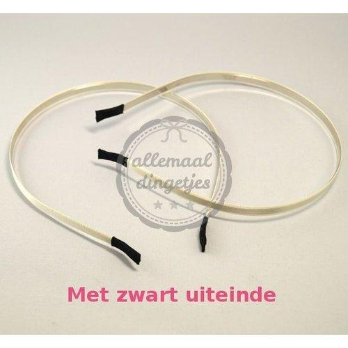 Diadeem haarband metaal satijn 6mm ivoor (per stuk)