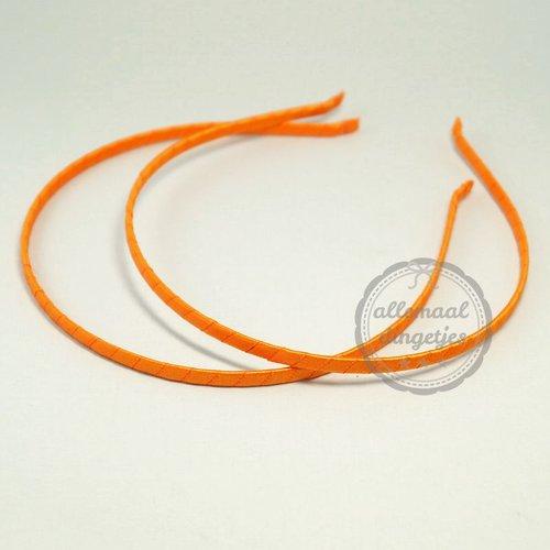 Diadeem haarband metaal satijnband oranje 6mm (per stuk)