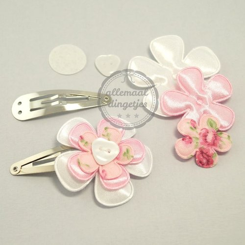 Zelfmaakpakket haarspeldjes (L) roze wit (1 paar)