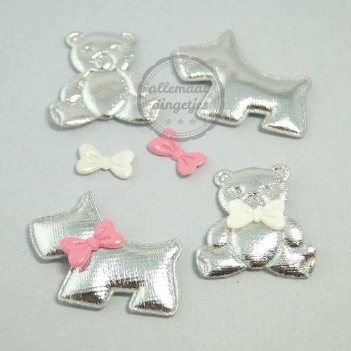 Hondjes Beertjes applicaties setjes zilver glans 30x35mm (4 setjes)