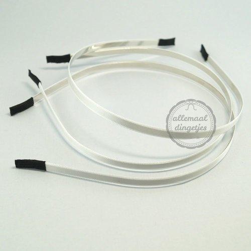 Diadeem haarband metaal satijn 6mm wit (per stuk)