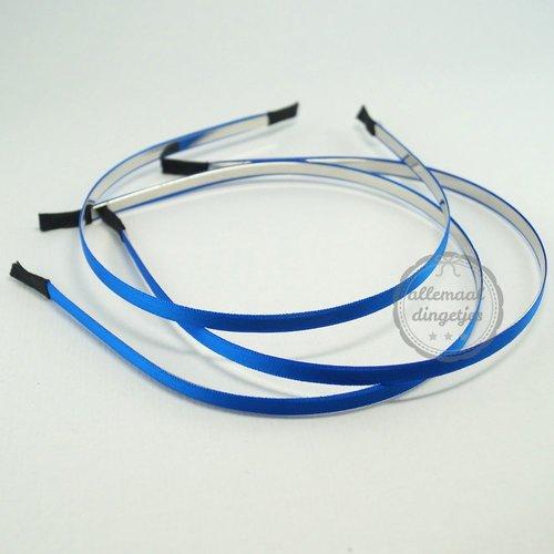 Diadeem haarband metaal satijn 6mm kobaltblauw (per stuk)