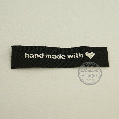 Label Handmade with love zwart wit 15x60mm (per stuk)