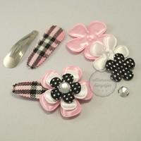 Zelfmaakpakket haarspeldjes (L) zwart wit roze (1 paar)