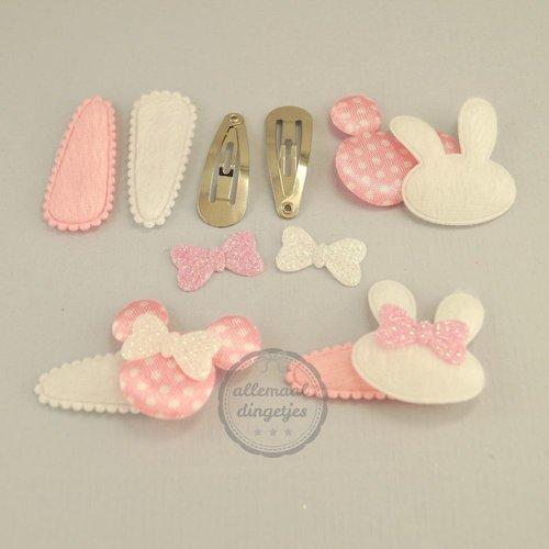 Zelfmaakpakket haarspeldjes (S) konijn muis mix roze wit (2 paar)