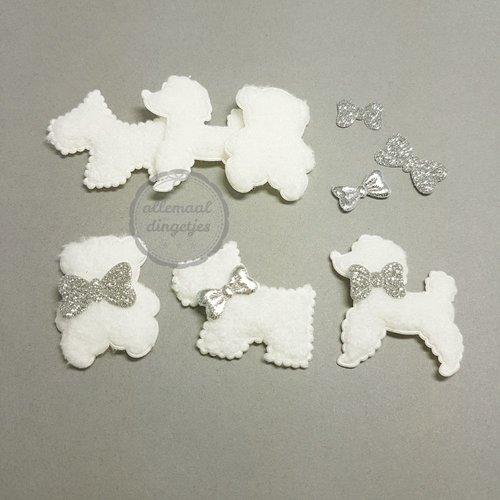 Hondjes Beertjes applicaties setjes pluche ivoor 30mm (6 setjes)
