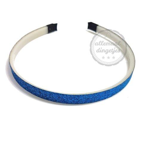 Diadeem haarband glitters blauw 10mm (per stuk)