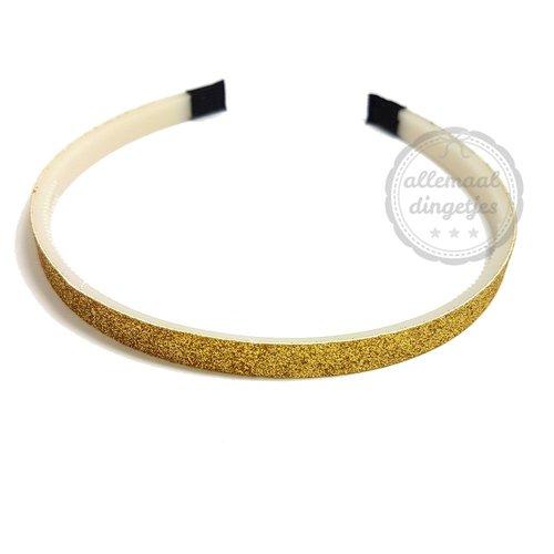 Diadeem haarband glitters goud 10mm (per stuk)