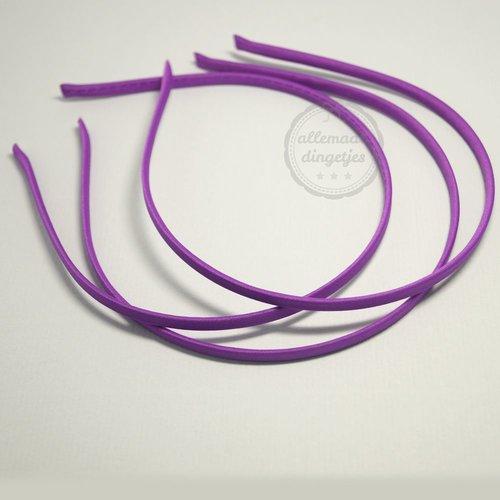 Diadeem satijn 5mm breed paars (per stuk)