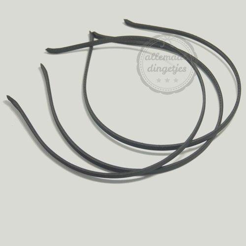 Diadeem satijn 5mm breed zwart (per stuk)