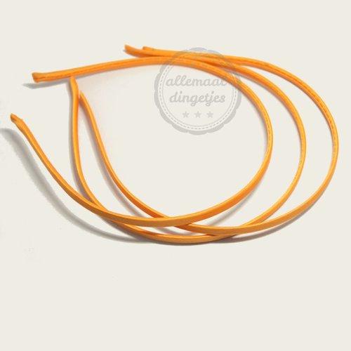 Diadeem satijn 5mm breed oranje (per stuk)