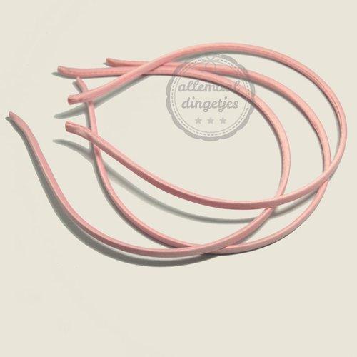 Diadeem satijn 5mm breed roze (per stuk)
