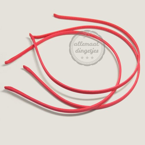 Diadeem satijn 5mm breed rood (per stuk)
