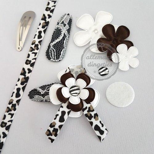 Zelfmaakpakket haarspeldjes maat L met lintje zwart wit donkerbruin (1 paar)