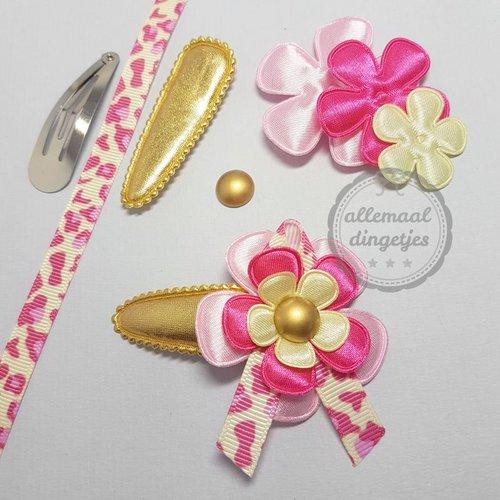 Zelfmaakpakket haarspeldjes maat L met lintje roze goud fuchsia (1 paar)