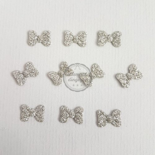 Strikjes applicaties glitter zilver 10x14mm (10 stuks)