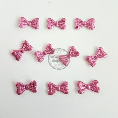 Strikjes applicaties roze glans 8x15mm (10 stuks)