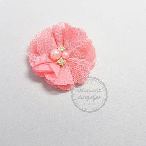 Bloemen 5cm chiffon glad met strass