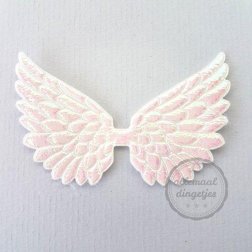 Vleugel angel wing applicatie wit parelmoer glans 45x70mm (per stuk)