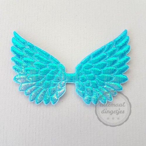 Vleugel angel wing applicatie turquoise parelmoer glans 45x70mm (per stuk)