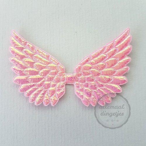 Vleugel angel wing applicatie roze parelmoer glans 45x70mm (per stuk)