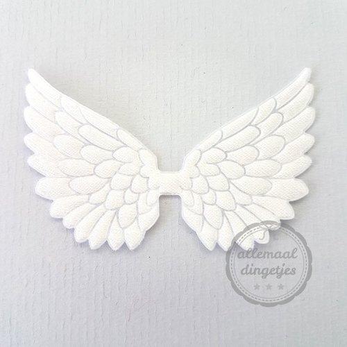 Vleugel angel wing applicatie satijn wit 45x70mm (per stuk)