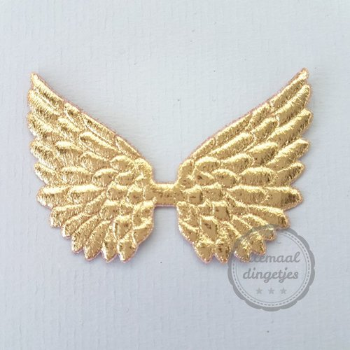 Vleugel angel wing applicatie goudkleurig 45x70mm (per stuk)