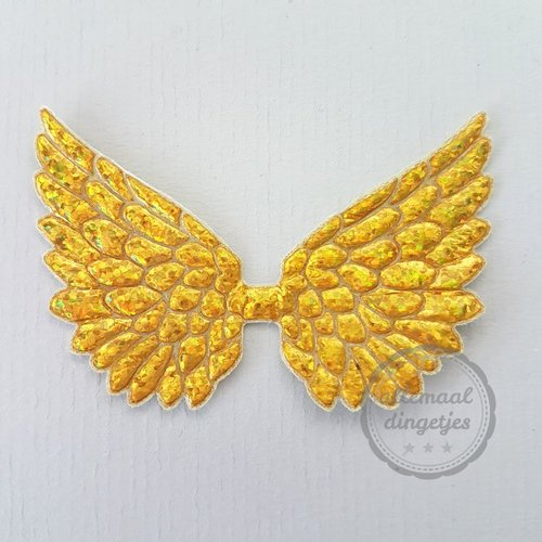 Vleugel angel wing applicatie goudkleurig glitter 45x70mm (per stuk)