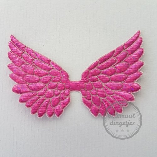Vleugel angel wing applicatie magenta glitter 45x70mm (per stuk)