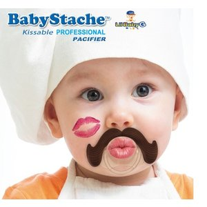 """Lil Baby G BabyStache® Speen """"zakenman"""" Bruin"""
