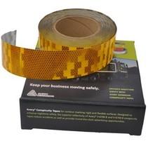 50 mtr Reflecterende tape - geel - voor harde ondergrond